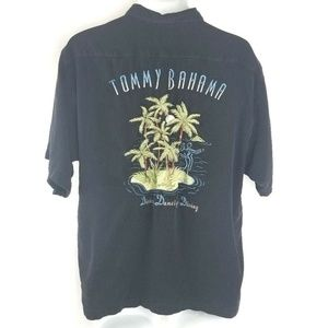 Tommy Bahama Dining Dancing Diving Black Silk M